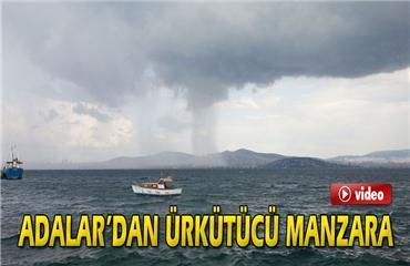 Adalar'dan ürkütücü yağmur manzarası