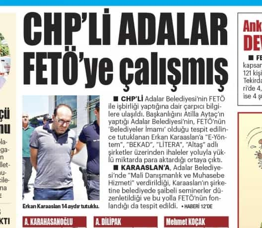 """Yeni Akit Gazetesi: """"CHP'li 'Adalar' FETÖ'ye çalışmış"""""""
