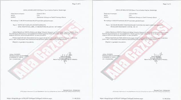 Adalar Belediyesinin EBYS ihalesinde skandal!