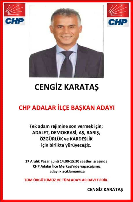"CHP Adalar İlçe Örgütü'ne kuvvetli aday: ""Cengiz Karataş"""