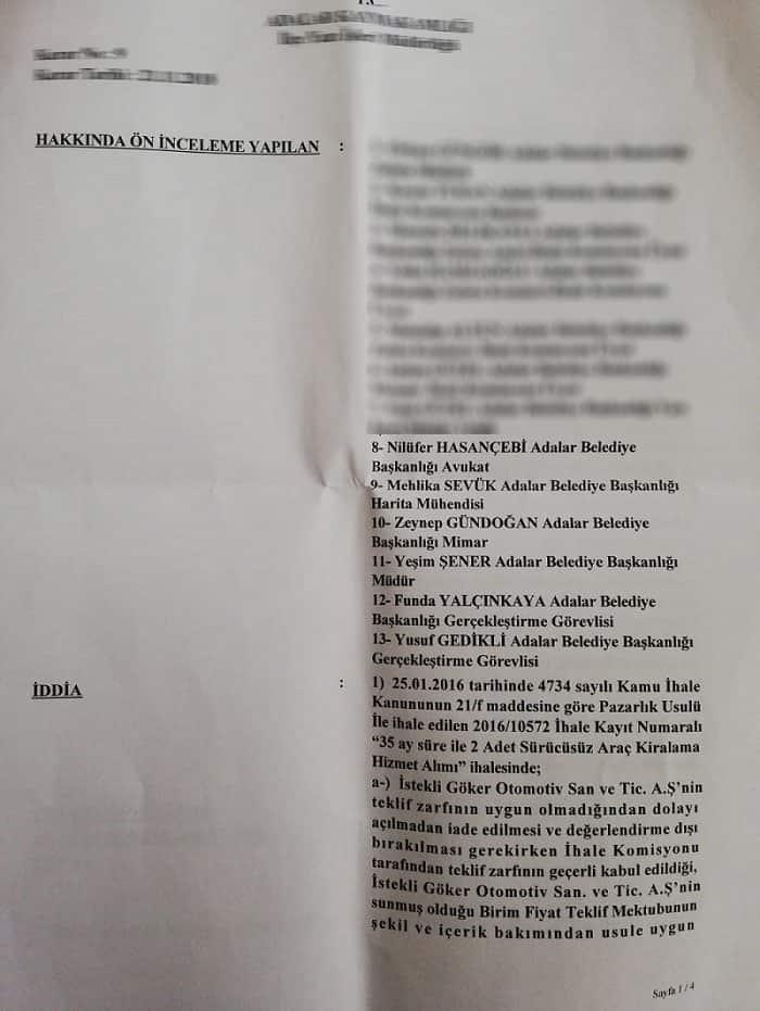Adalar Belediyesinin avukatlarına EDİMİN İFASINA FESAT'tan soruşturma izni verildi!