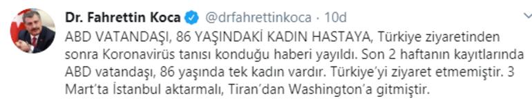 Son dakika haberler... Türkiyeden ABDye giden kadın hastada virüs görüldü iddiasına Sağlık Bakanı Kocadan yanıt