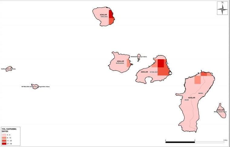 Olası İstanbul depreminde Adaların Yol Kapanma Analizleri