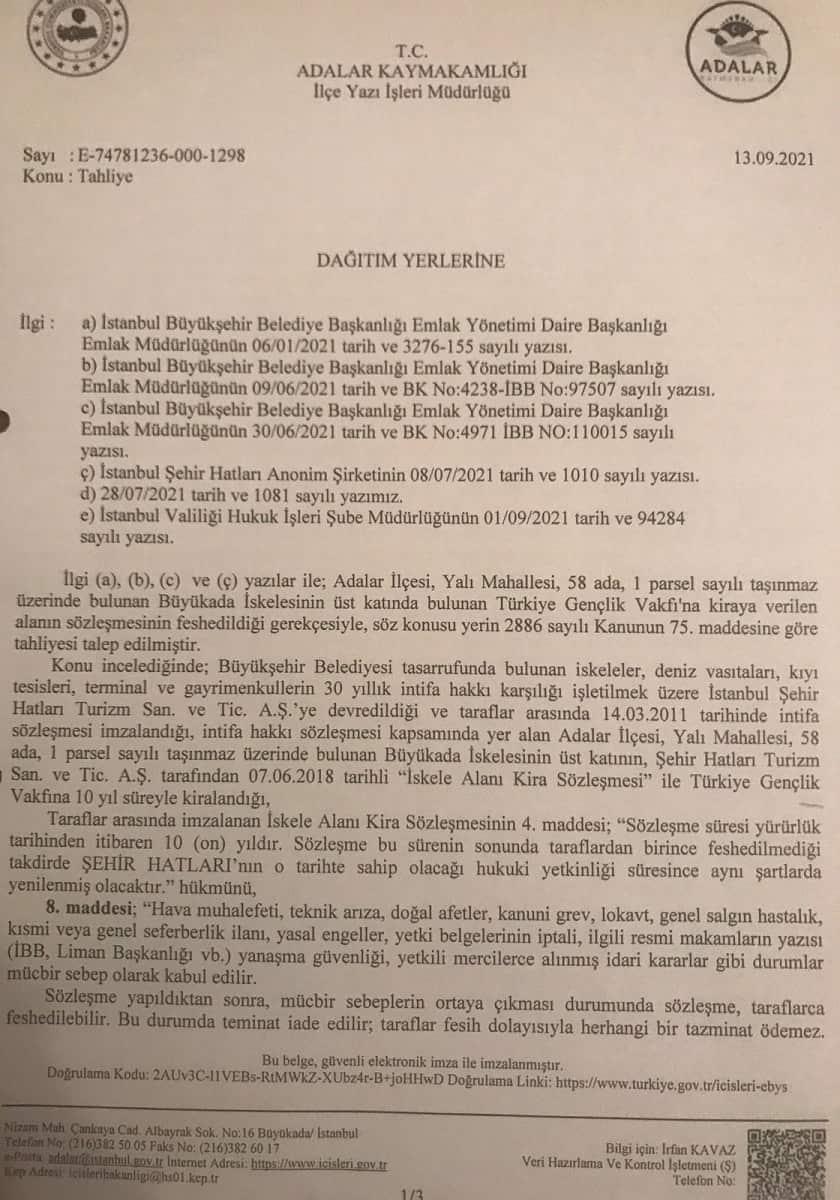 Adalar Kaymakamlığı'ndan İBB'ye 'tahliye işleminin yasal olmadığı' yazıları