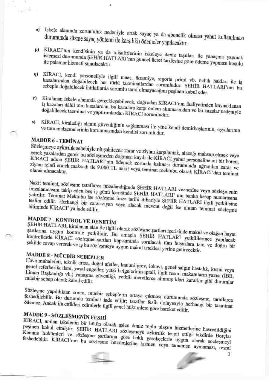TÜGVA ile yapılan İskele Alanı Kira Sözleşmesi'nde 9. Madde ayrıntısı